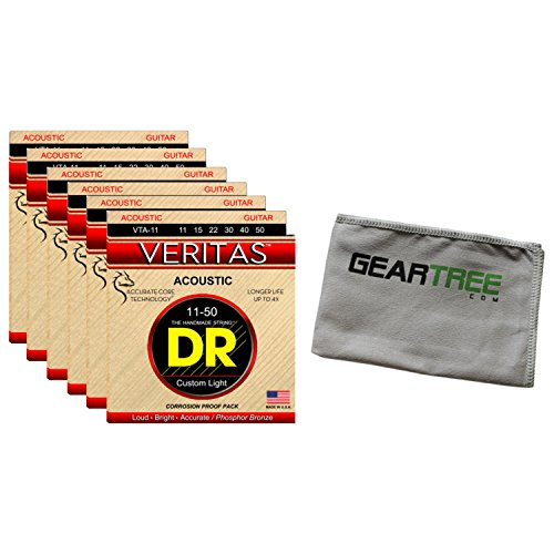 6 Sets of DR Strings VTA-11 VERITAS 11-50 Custom Light Acoustic Strings w/Geart
