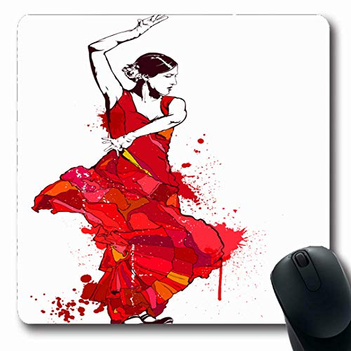 Ahawoso Mousepads Dress Spain Vintage Spanish Girl Red Heels Flamenco Dance Dancer Lady Color Design Drawing Oblong Shape 7.9 x 9.5 Inches Non-Slip Gaming Mouse Pad Rubber Oblong Mat -