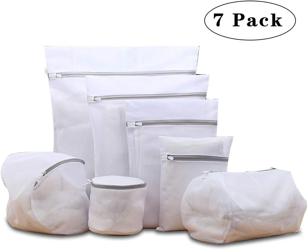 7Pcs Thickened Fine Mesh Laundry Bags for Delicates with Premium Zipper,Travel Storage Organize Bag, Clothing Washing Bags for Laundry, Blouse, Bra, Hosiery, Stocking, Underwear, Lingerie