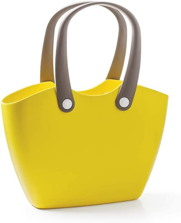 GF Garden FOR The Living Bag Bolso de plástico, de hombro, shopper, con asas ergonómicas, colorido, Amarillo