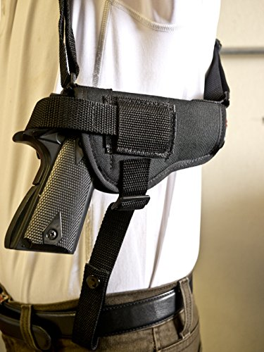 OUTBAGS USA NSH29 (RIGHT) Nylon Horizontal Shoulder Holster w/ Double Mag Pouch. Family owned & operated. Made in USA