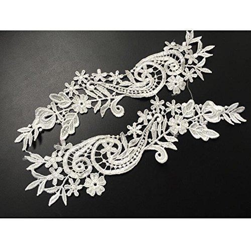 1 Pair Off-white Lace Flower Applique Headdress Hair Accessories Flowers Patch DIY Accessories Bridal Veil Decoration