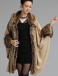 Aphratti Women\'s Wool Scarf Shawl Cape Coat with Luxury Faux Fox Fur Collar One Size Beige