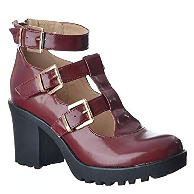 af168d13350 LADIES WOMENS CHUNKY MID HIGH BLOCK HEEL BUCKLES CUT OUT ANKLE SHOE BOOTS  SIZE  Burgundy