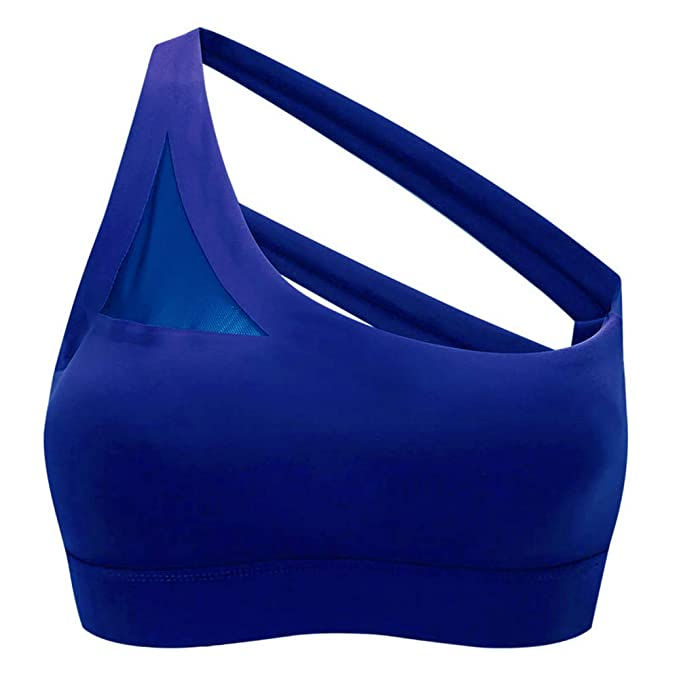 440ec3d4c7bb Yandam Women's Gathered Sports Bra Without Traces Without Rim Underwear Vest(Blue  S) at Amazon Women's Clothing store: