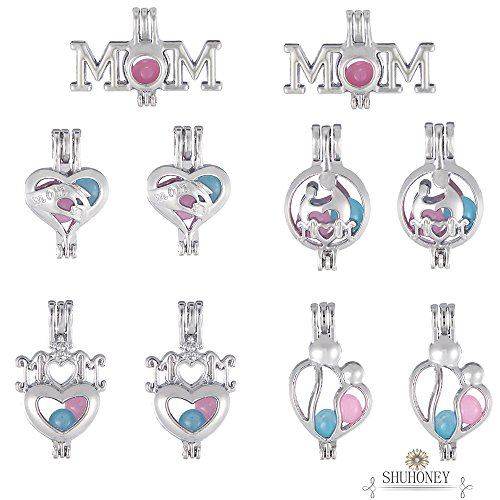 10 Pcs Mom Style Pearl Bead Cage Pendant Heart Locket/Essential Oil Scent Diffuser Necklace Jewelry Making Charms (10 Pcs, Alloy, Rhodium Plated)