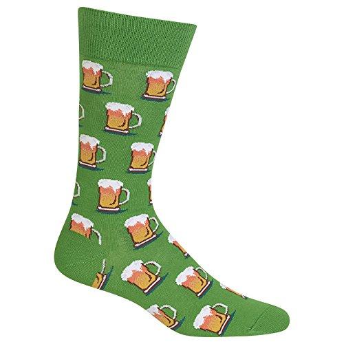 Hot Sox Men's Conversational Slack Crew Socks, Beer (Kelly), Shoe Size:6-12 / Sock Size: (Sox Beer)