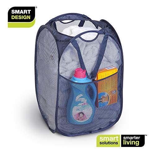 Smart Design Deluxe Mesh Pop Up Square Laundry Hamper w/ Side Pocket & Handles - VentilAir Fabric Collapsible Design - for Clothes & Laundry - Home - (Holds 2 Loads) (14 x 23 Inch) [Blue]