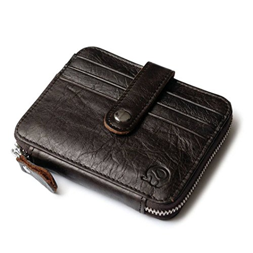 Badiya Retro Men's Genuine Leather Coin Purse with Card Holder Zipper Pouch Wallet