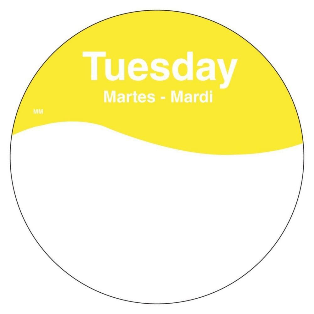 DayMark 1101082 MoveMark Trilingual 3'' Tuesday Day Circle - 500 / RL