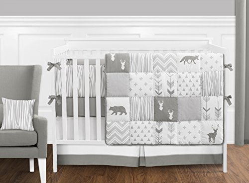 Grey-and-White-Woodsy-Deer-Boy-Girl-Unisex-Baby-Crib-Bedding-Set-with-Bumper-by-Sweet-Jojo-Designs-9-pieces