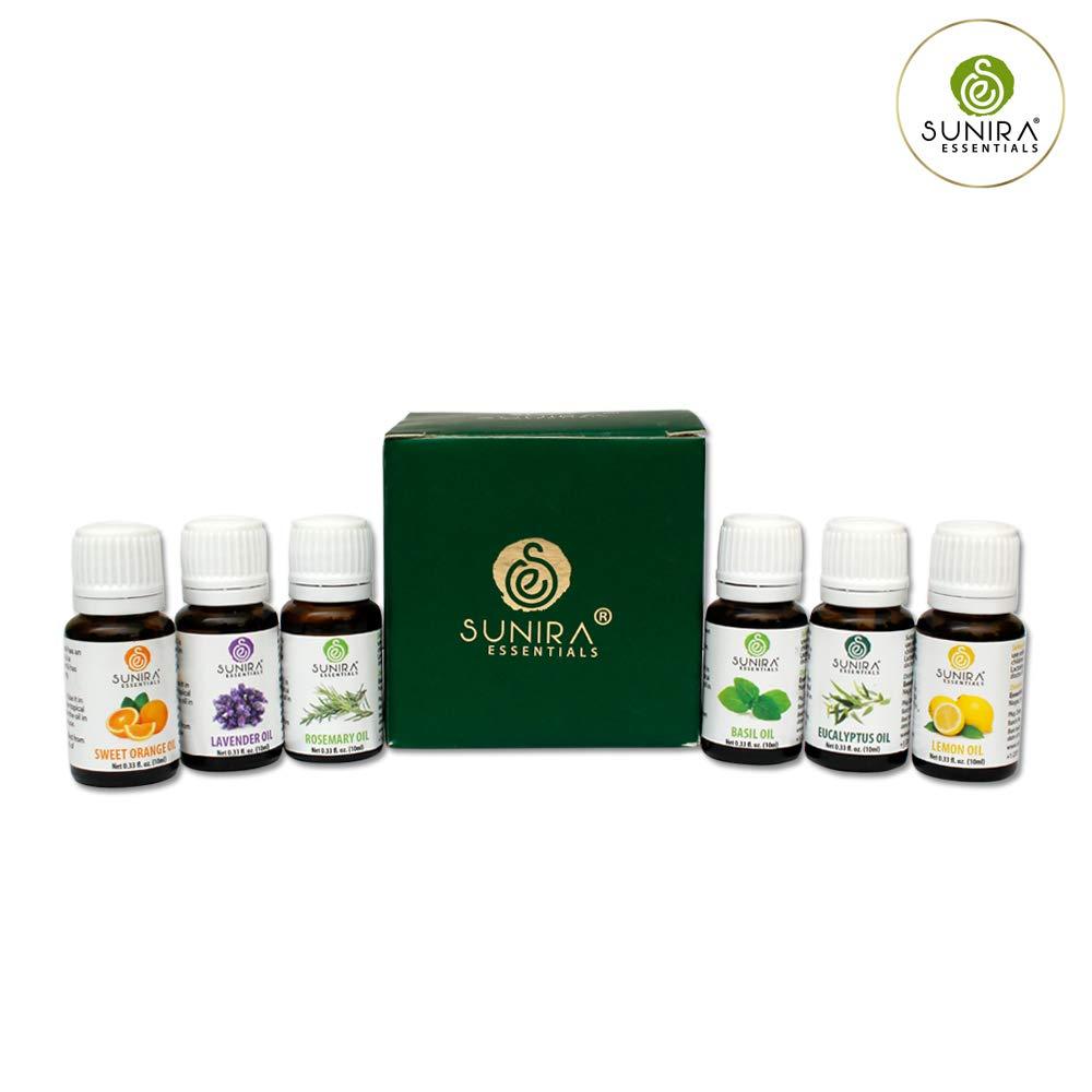 SUNIRA Essential Oil Gift Set of 06, Therapeutic Grade, 100% Pure Essential Oils (Lavender, Rosemary, Basil, Lemon, Eucalyptus & Orange) by SUNIRA (Image #3)