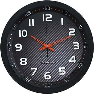 Technoline Wt 8972 - Reloj de Pared Controlado Por Radio, color negro Y Ámbar
