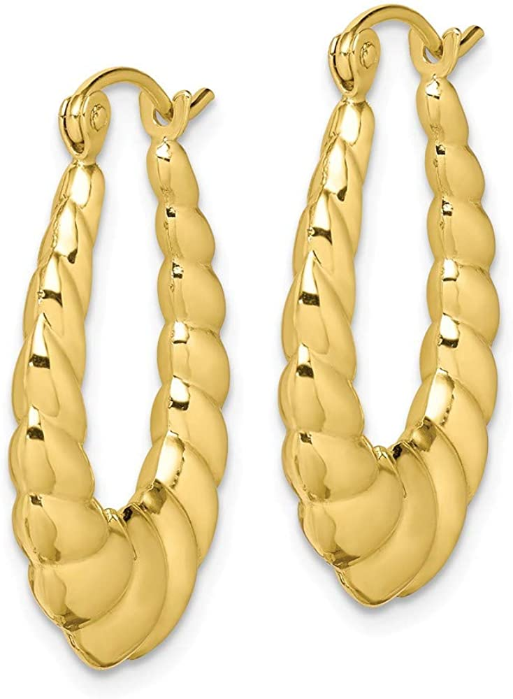 10k Yellow Gold Polished Twisted Hollow Hoop Earrings 24.97x17.8mm Ideal Gifts For Women