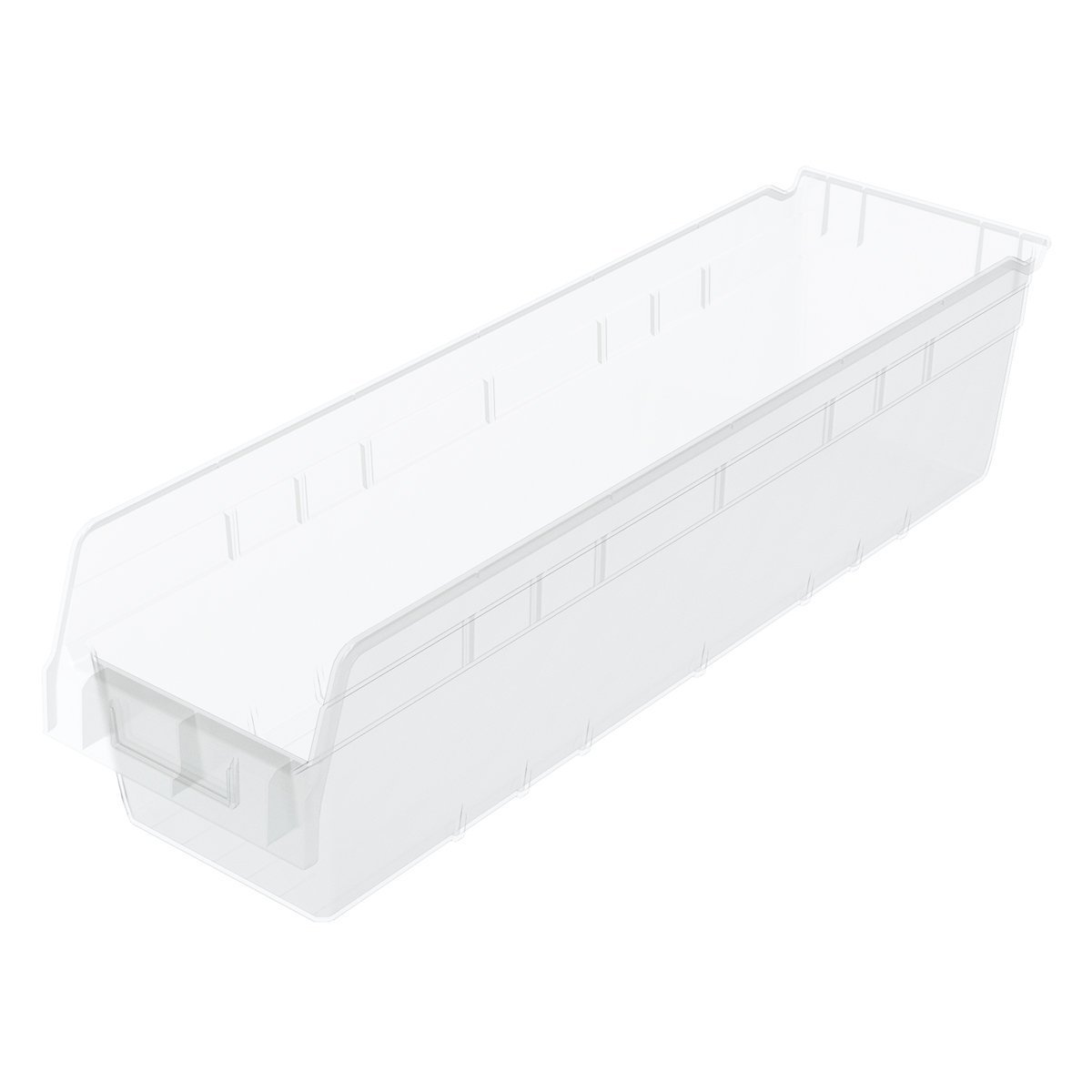 Akro-Mils 30094 24-Inch L by 6.5-Inch W by 6-Inch H Clear ShelfMax Plastic Nesting Shelf Bin Box, 10-Pack