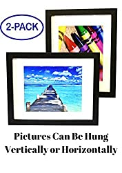 """11x14 Inch Picture Frame Black (2-pack) - GLASS FRONT COVER - Displays an 11 by 14"""" Picture w/o Mat or an 8x10 Photo with Mat - Vertical or Horizontal Mounts & Easy To Hang - No Hardware to Install."""