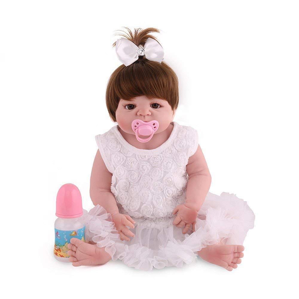 Puppenkissen Volle Silikon Vinyl Reborn Babypuppe Realistische handgefertigte junge Babys Puppen 22 Zoll 55 cm Lebensechte Kinder Spielzeug Kinder Geburtstagsgeschenk kann in das Wasser Cartoon-Plüsch