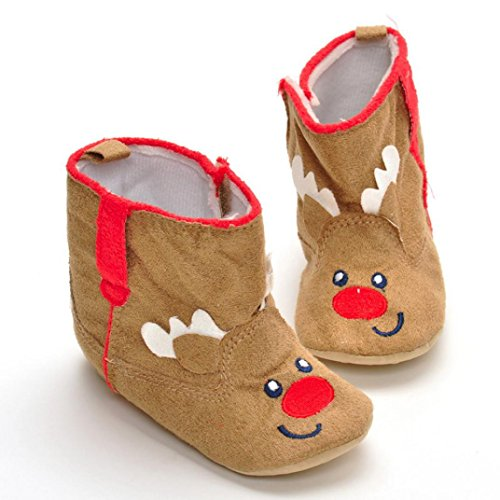 Clode® Neugeborenes Säuglingsbaby Mädchen Weihnachtsstiefel Schuhe weiche alleinige Anti-Rutsch Stiefel Khaki