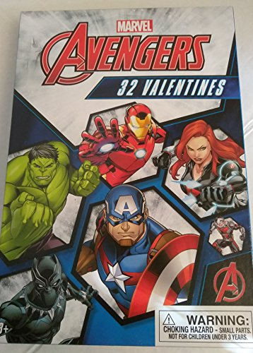 Marvel Avengers - Box of 32 Valentines Day Cards, 8 Heroic Designs