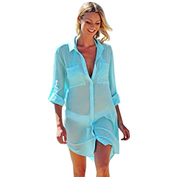 Blouses & Shirts Bright Summer Style Women Sexy V-neck Transparent See-through Loose Beachwear Bikini Smock Sunscreen Blouse Tops