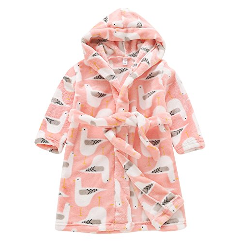 Aivtalk 6-7 Years Boys Girls Flannel Plush Shawl Robe with Cute Cartoon Pigeon Pattern Pink (Pigeon Childrens Pajamas)