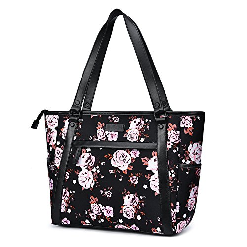 15.6 Inch Laptop Tote Bag Lightweight Stylish Satchel for Women Durable Nylon Travel Bag Casual Shopping Handbag Large Capacity Business Briefcase Multi-function Zipper Shoulder Bag,Black Rose