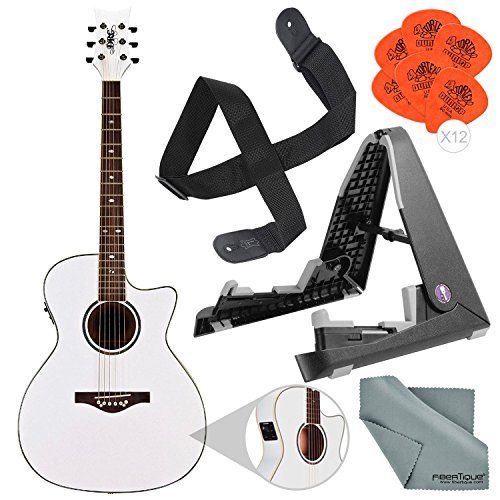 Daisy Rock Wildwood Acoustic/Electric Guitar Pearl White (DR6274-U) with Guitar Stand and Basic Bundle