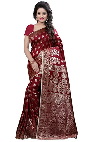 Rajnandini Women's Banarasi Silk Weaving Work Saree(JOPLLB1047B_Maroon_Free Size)