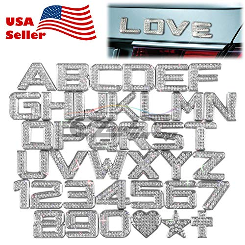 Custom Crystal Alphabet & Number stickers 3D Car Auto Emblem letter Badge Decal