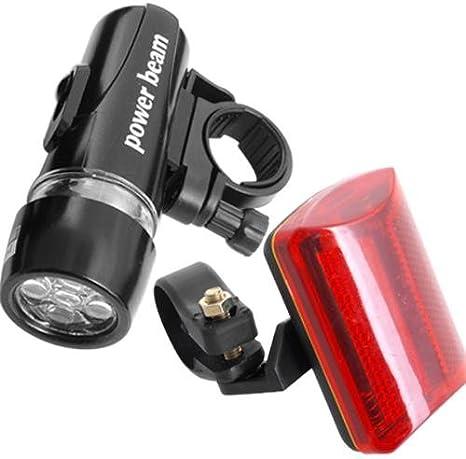 5 LED antorcha linterna frontal+luz roja de bicicleta: Amazon.es ...