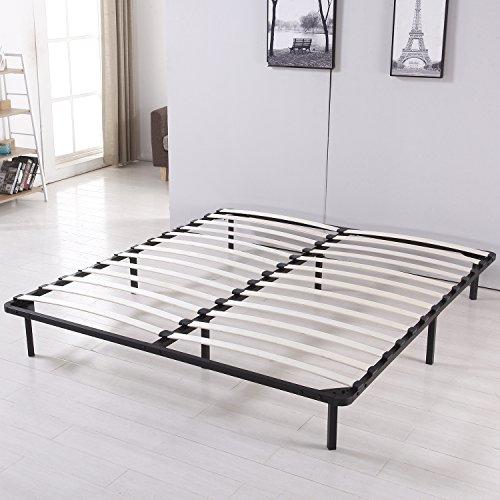 Walcut Platform Metal Bed Frame Poplar Wooden Slat Support Eastern King