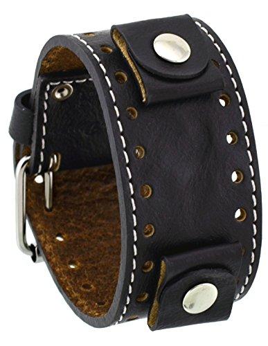 Rev 331WRB-K Crinkle Italian Design 22mm Lug Width Wide Black Leather Cuff Watch Band