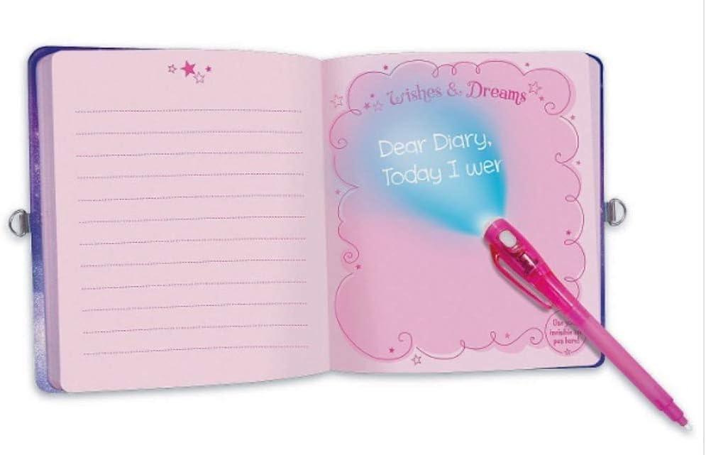 Peaceable Kingdom Unicorn Dreams Diary /& Invisible Ink Pen With Padlock /& Key Plus Spare Keys
