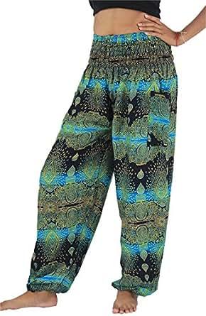 NaLuck Women's Boho Hippie floral Smocked Waist Yoga Harem Pants PJ02-Blue