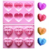 Pink Diamond Heart Silicone Mold for Chocolate, Ice Cube, 6 Cavities Non-stick Easy Release 3D Heart Love Shaped Silicone Mold Tray for Ice Cube, Candle, Soap, Hot Chocolate Bomb, Cake -1Pack