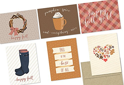 (72 Note Cards - It's Fall Y'all - 6 Designs - Blank Cards - Kraft Envelopes)