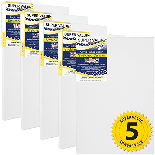 16 X 16 Canvas (US Art Supply 16 x 20 inch Super Value Quality Acid Free Stretched Canvas 5-Pack - 3/4 Profile Primed Gesso (1-Super Value Pack of 5)