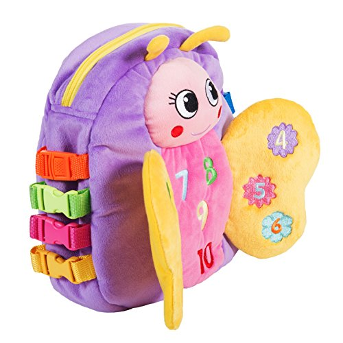 "BUCKLE TOY ""Blossom"" Butterfly Backpack – Toddler Early Learning Basic Life Skills Children's Plush Travel Activity"
