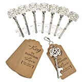 DerBlue 60 PCS Key Bottle Openers,Vintage Skeleton Key Bottle Opener,Skeleton Key Bottle Openers Wedding Favors Antique Rustic Decoration with Heart shaped kraft paper label card (Silver-4)
