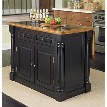 home styles monarch granite top kitchen island black and distressed oak finish