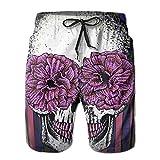 Sugar Skull Wedding Surfboard Flowers Men's Swim Trunks Quick Dry Bathing Suits Summer Casual Surfing Beach Shorts