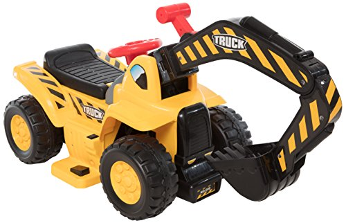 Wonderlanes 6V Ride on Lil Backhoe, Battery Powered Toys, Yellow, Black, Red, 22.4 x 14.2 x 18.1