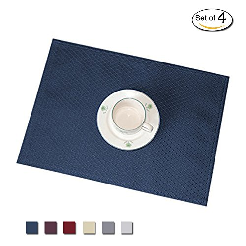 Eforcurtain 4-pack Waffle Checks Easy Care Placemats Spill-Proof Formal Rectangle Table Mats Reversible 13 By 19 Inch, Navy Blue (Rectangle Placemat)