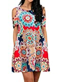 MIROL Women's Summer Short Sleeveless Off Shoulder Floral Printed Tunic Dress with Pockets