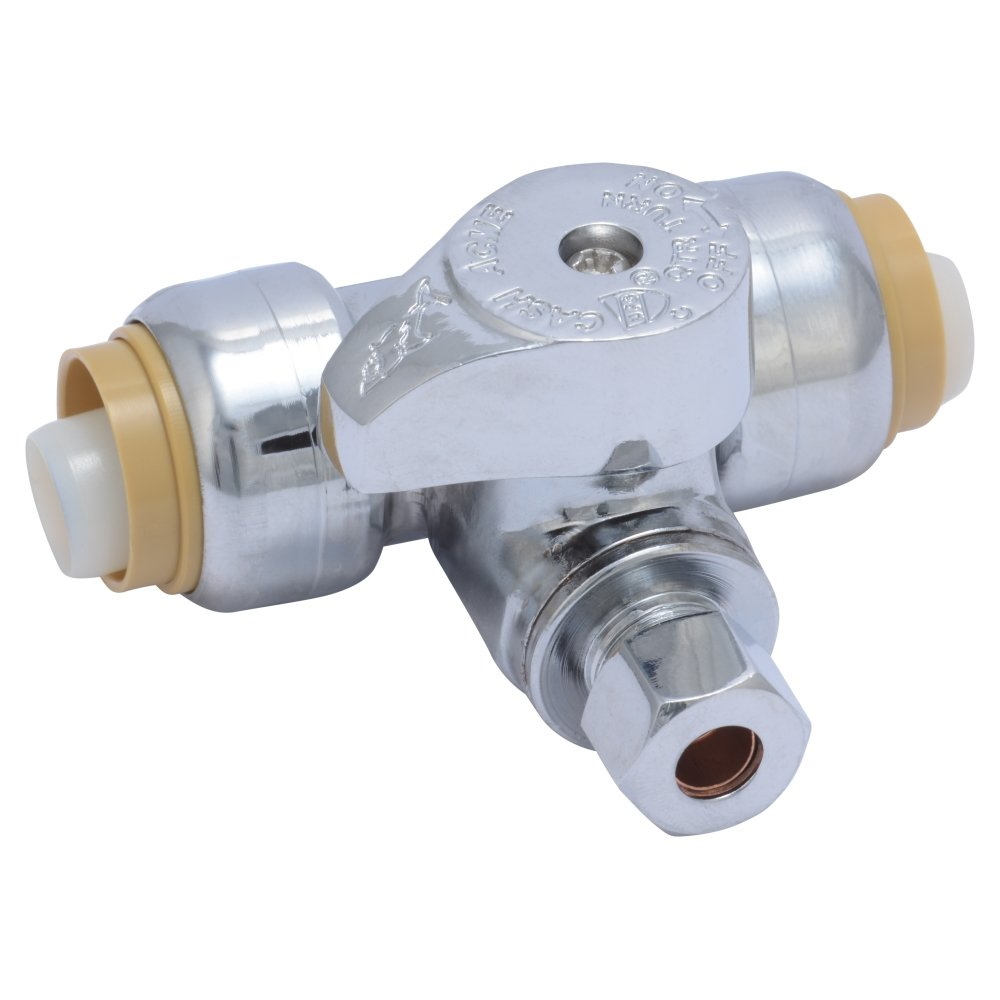 SharkBite 24983A Service Tee Stop Valve, 1/2 inch x 1/2 inch x 1/4 inch, Quarter Turn, Compression Service Stop Fitting, Water Valve Shut Off, Push-to-Connect, PEX, Copper, CPVC, PE-RT by SharkBite