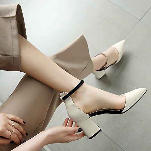 Verano 8Cm Shoes Gruesas Boca Un Sociedad Mujer Hebilla Sandalias KPHY Alta 6 La Una De Y Zapatos White Superficial El Verano Women La con Viento Primavera wtS1ICq
