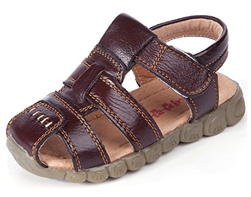 Brown Dark Kids Smooth Shoes (iDuoDuo Boys Girls Breathable Waterproof Leather Strap Beach Dress Party Flat Sandals Dark Brown 13 M US Little Kid)