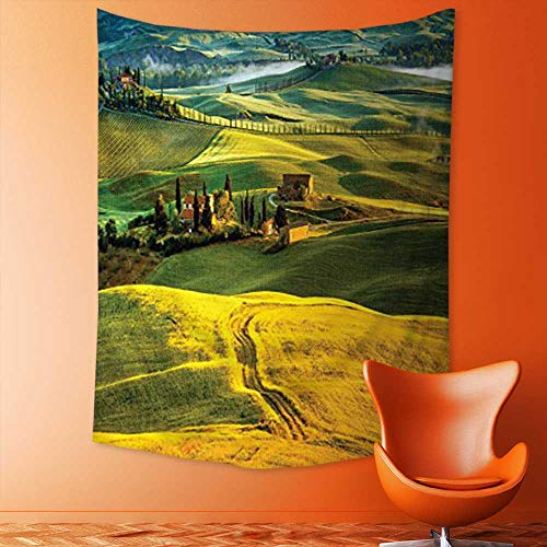 aolankaili Elastic Fabric Tapestry, Twisting Road and Cypresses to Medieval Vineyard Farmhouse Picture Accessories Mustard Home Decor
