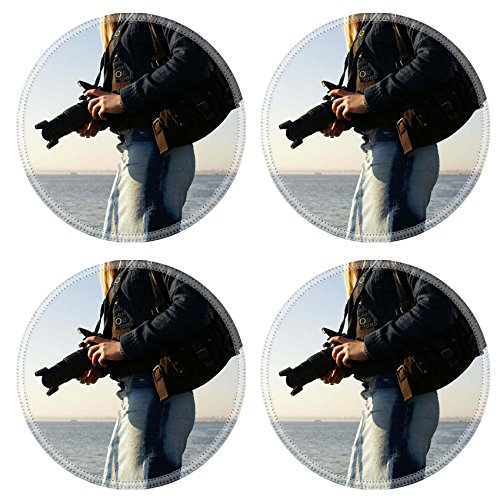 MSD Natural Rubber Round Coasters IMAGE ID: 854996 Young attractive female photographer on a beach (Natural Reflections Jeans compare prices)