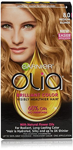Garnier Olia Hair Color, 8.0 Medium Blonde, Ammonia Free ...
